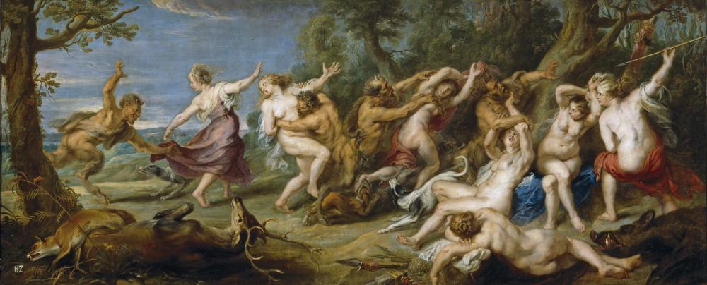 Diana i jej nimfy podglądane przez satyry